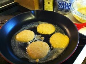 making sweet potato pancakes :)